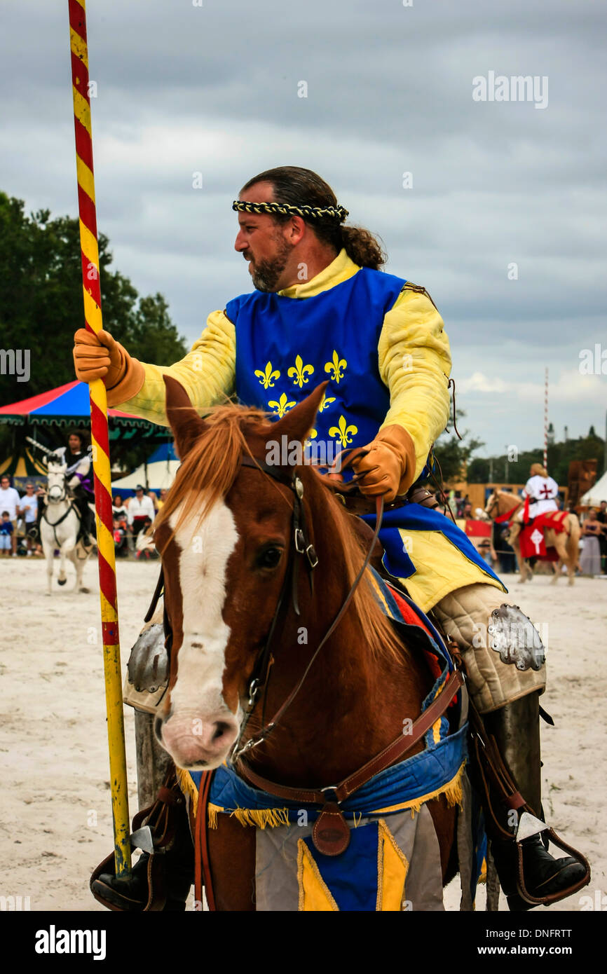 Jousting Competition at the Sarasota Medieval Festival weekend - Stock Image