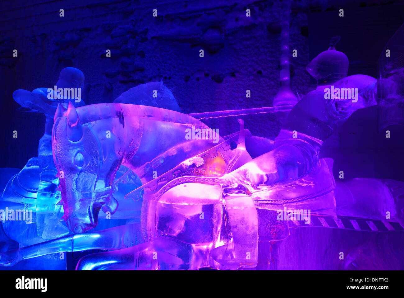 Ice sculpture of jousting knights on horseback at the Aurora Ice Museum Chena Hot Springs Alaska USA - Stock Image