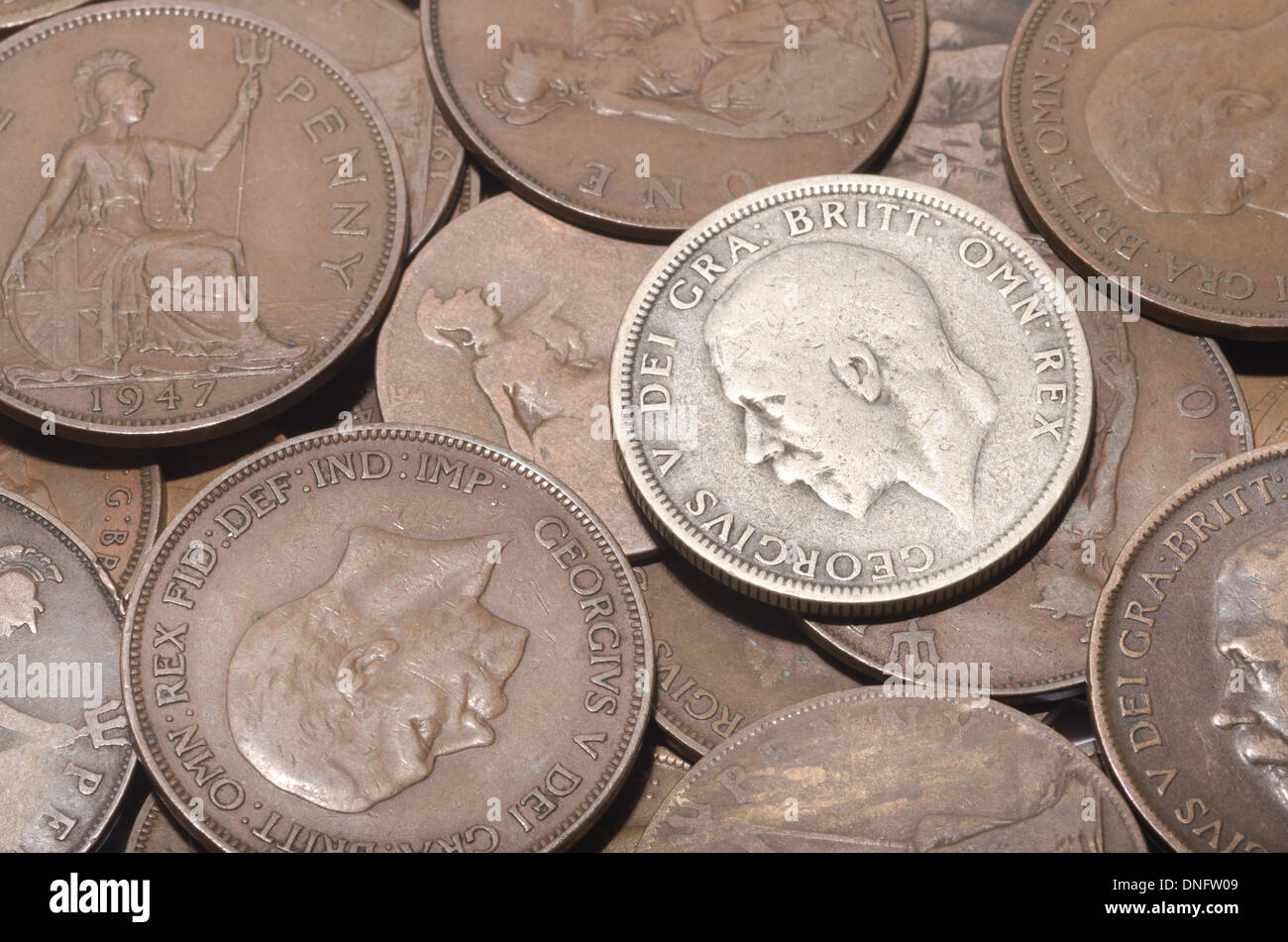 old currency uk penny 1d with King George V and Queen