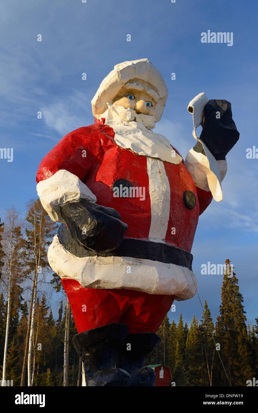Giant Santa Claus statue at Santaland in North Pole Alaska USA - Stock Image