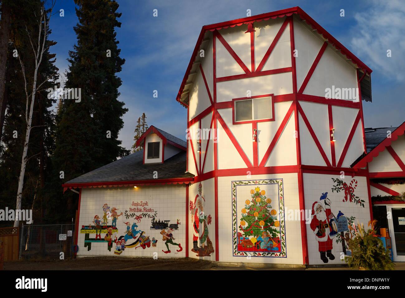 The Santa Claus House at SantaLand North Pole Alaska USA with Christmas scene tiles - Stock Image