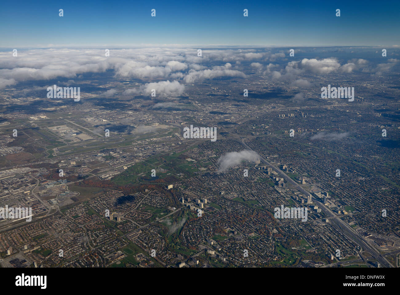 Aerial view of Toronto at highway 401 and 427 with Centennial Park and Pearson International Airport - Stock Image