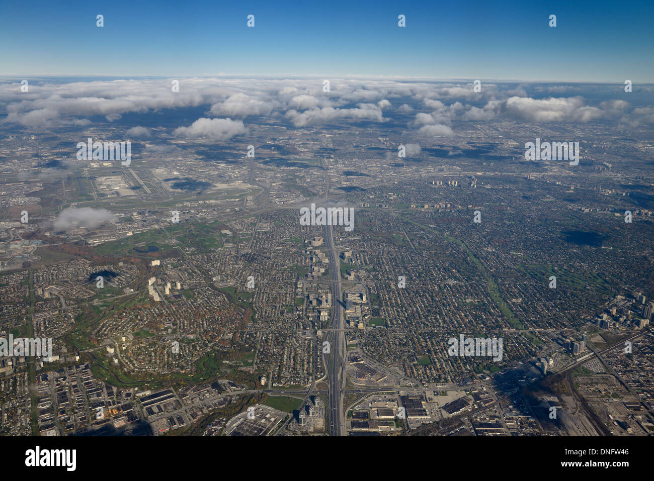 Aerial of Toronto north on highway 427 and 401 and Centennial Park and Pearson International Airport - Stock Image