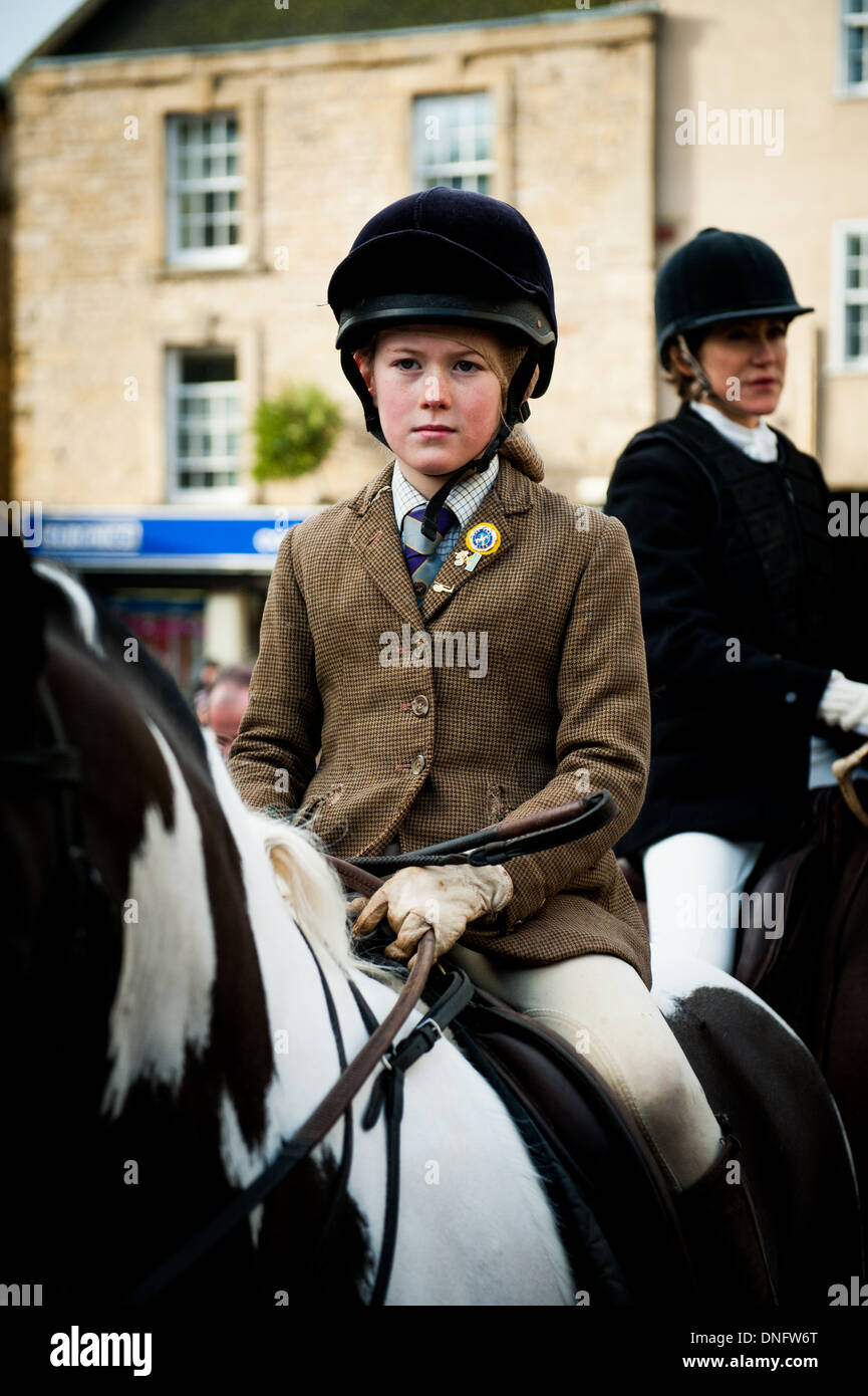 Girl in riding gear on horse (10,11,12) before taking part in Heythrop Hunt on Boxing Day Hunt, Chipping Norton, Oxfordshire, - Stock Image