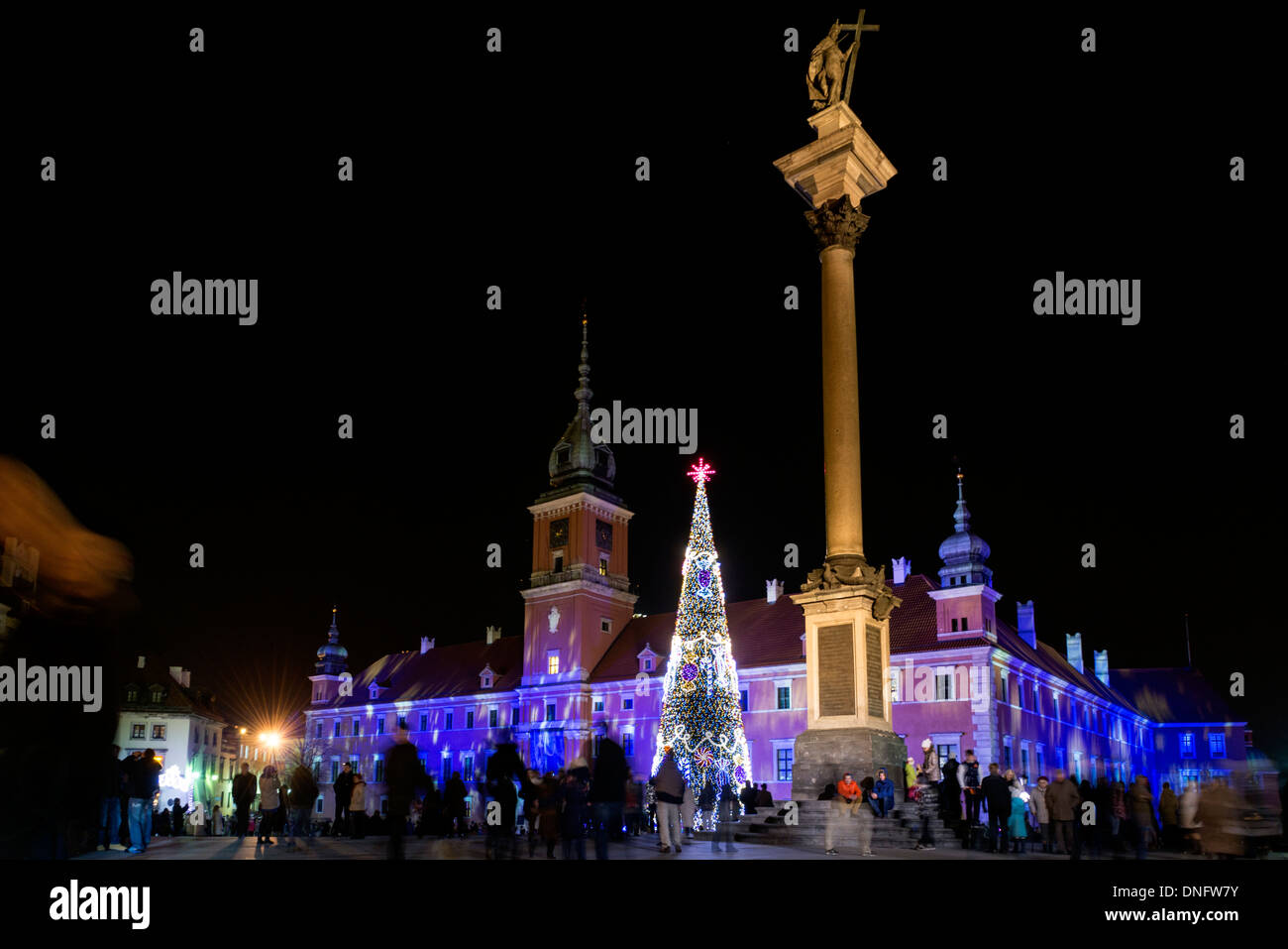 Royal Castle in Warsaw, Poland during Christmas time - Stock Image