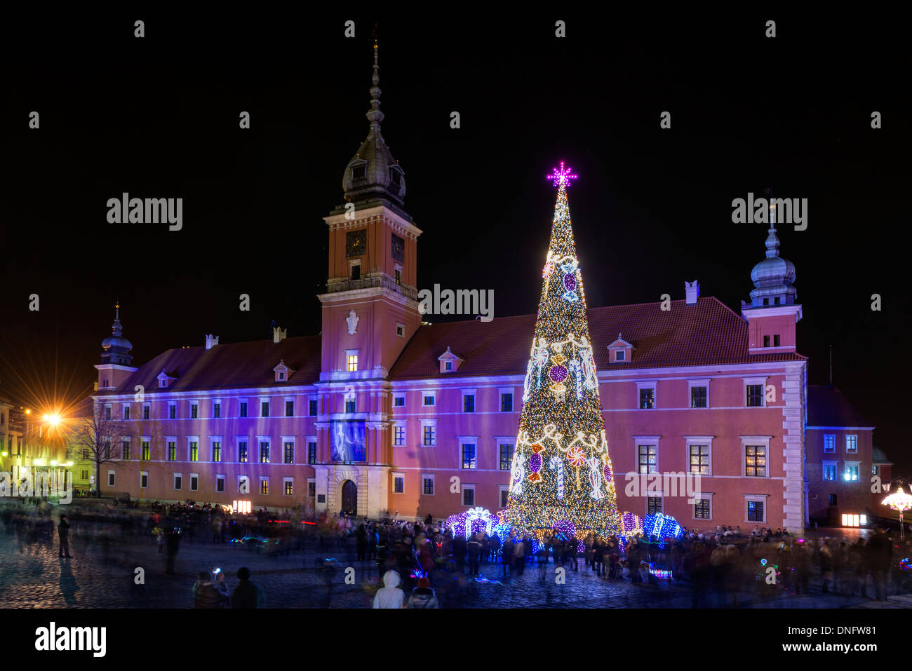 Royal Castle in Warsaw, Poland during Christmas time 2013 - Stock Image