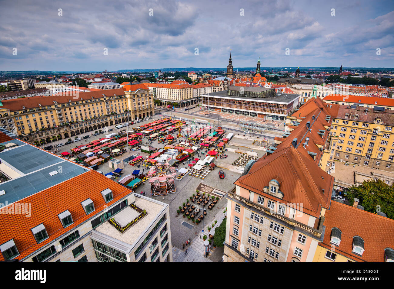 Dresden, Germany cityscape at Altmart Square. Stock Photo