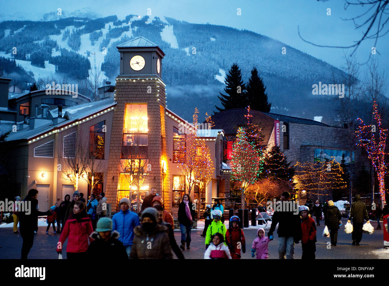 christmas lights in the whistler village whistler bc canada stock image