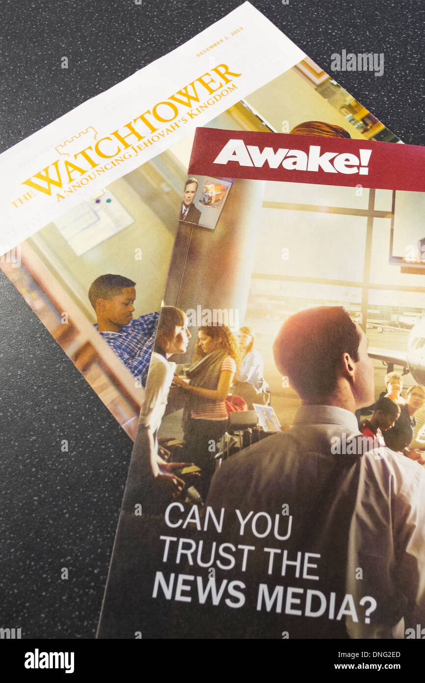 Watchtower and Awake! Johavah's Witness publications pamphlets leaflets - Stock Image