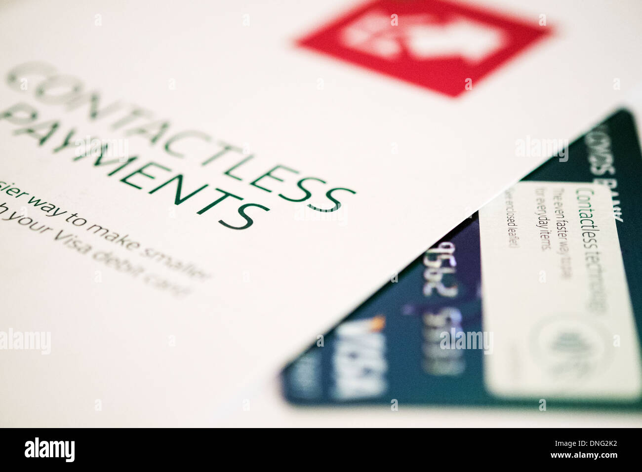 contactless debit credit card payment visa leaflet cut out white background copy space Stock Photo