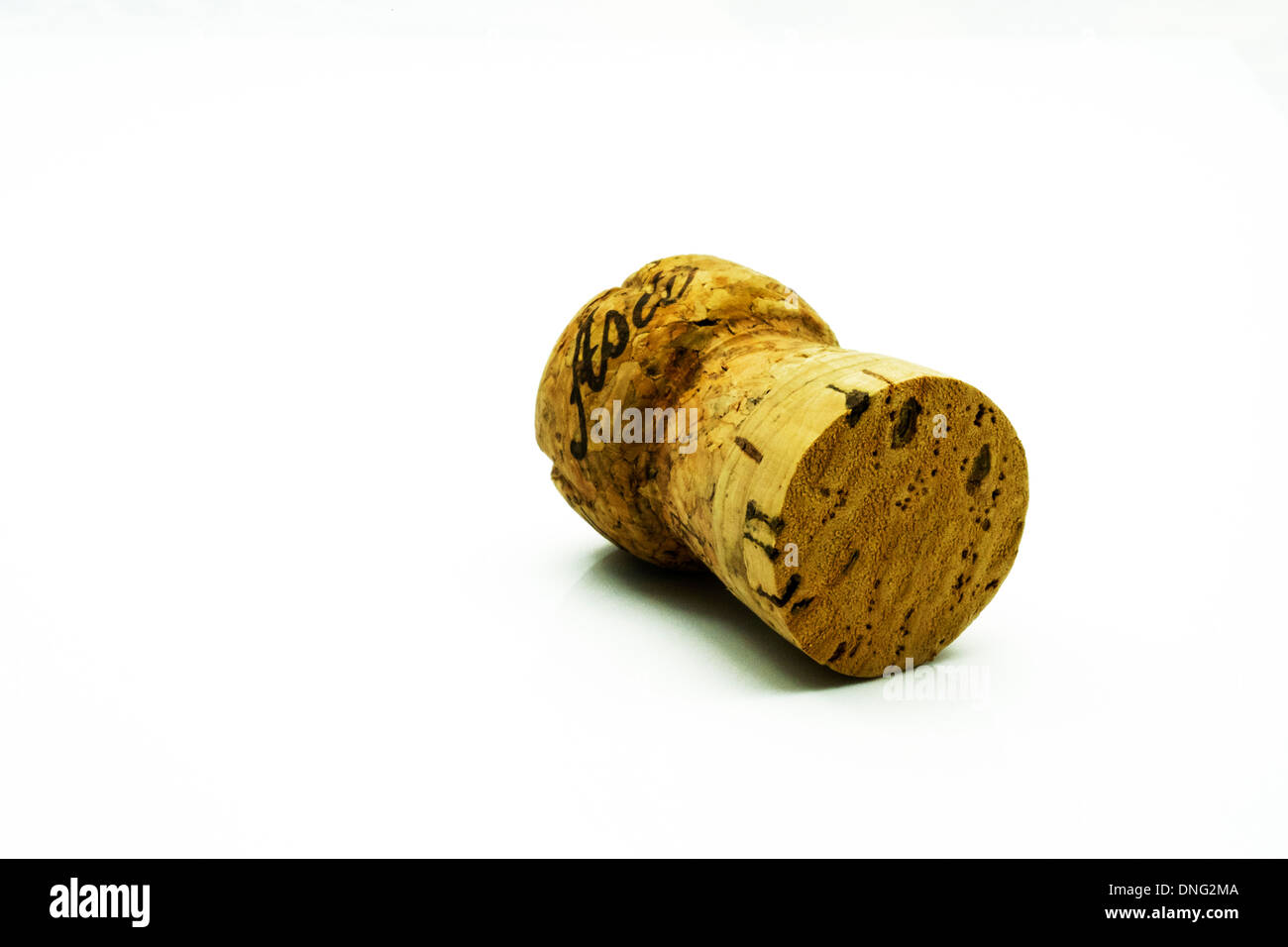 Asti spumante champagne cork single item cut out white background copy space - Stock Image