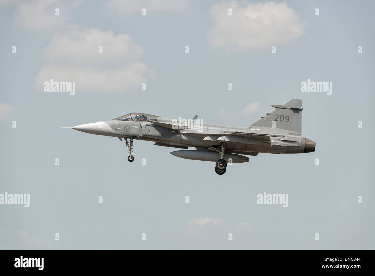 Saab JAS39 Gripen Fighter Jet of the Hungarian Air Force 59th Wing arrives at Fairford to take part in the 2013 RIAT - Stock Image