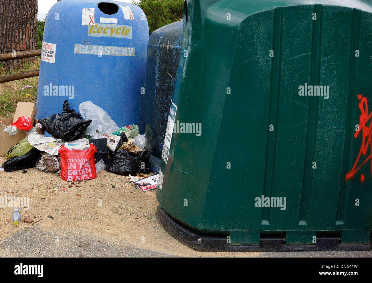 Mess at recycling depot. - Stock Image