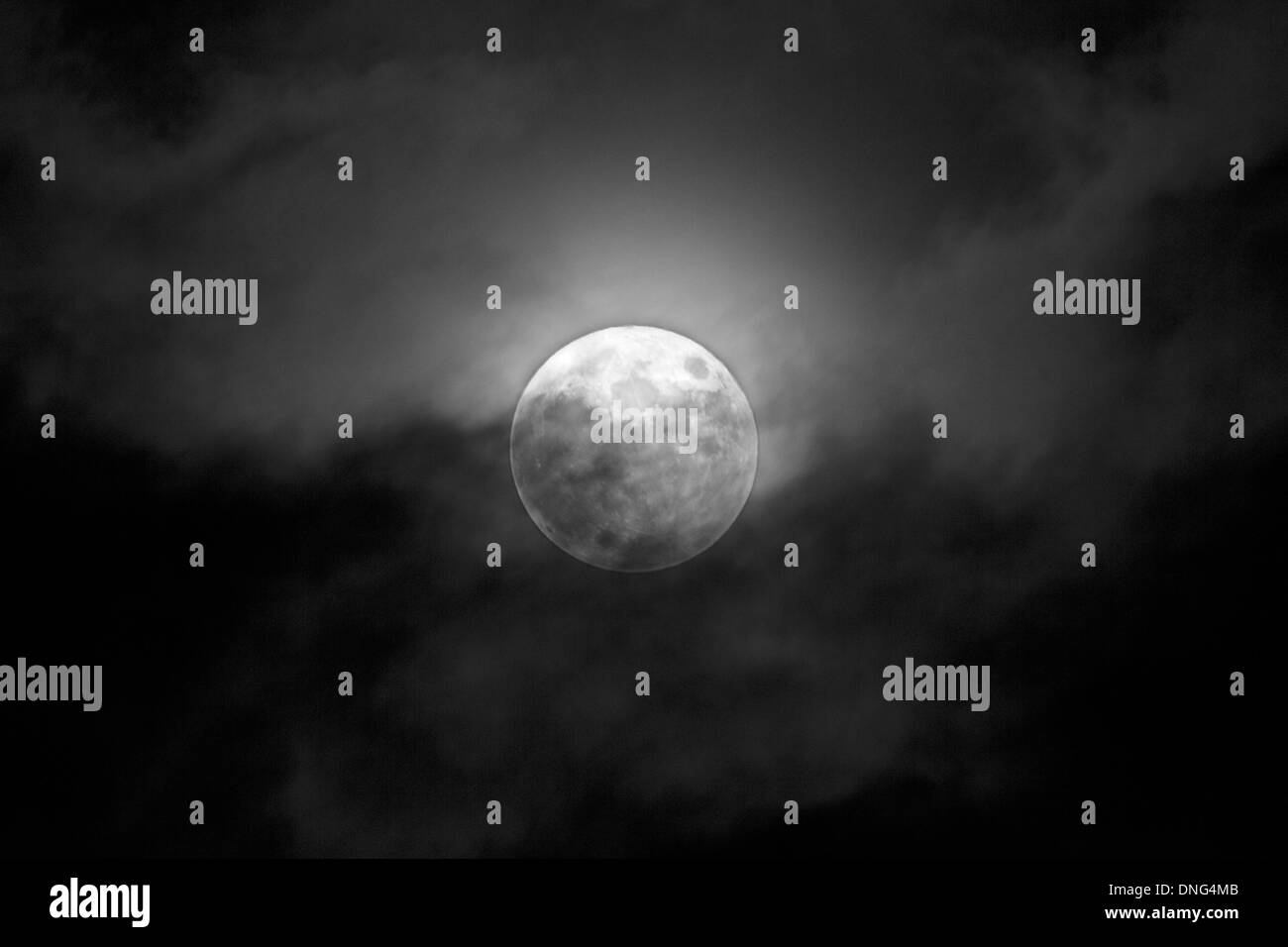 Full Moon is a sky with clouds - Stock Image