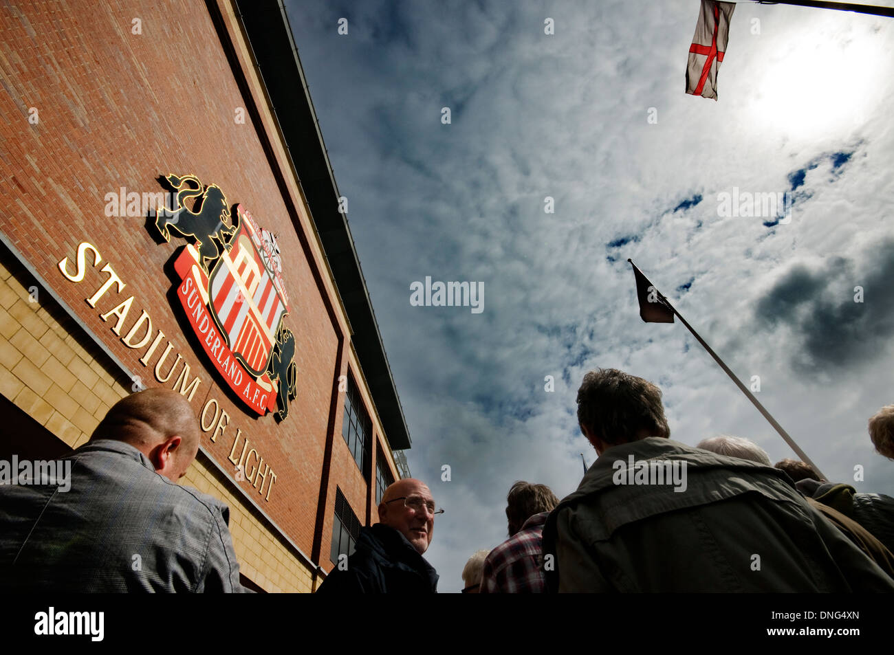 Fans wait outside of the Sunderland Stadium of Light before a home game in the Premier League against Manchester United - Stock Image