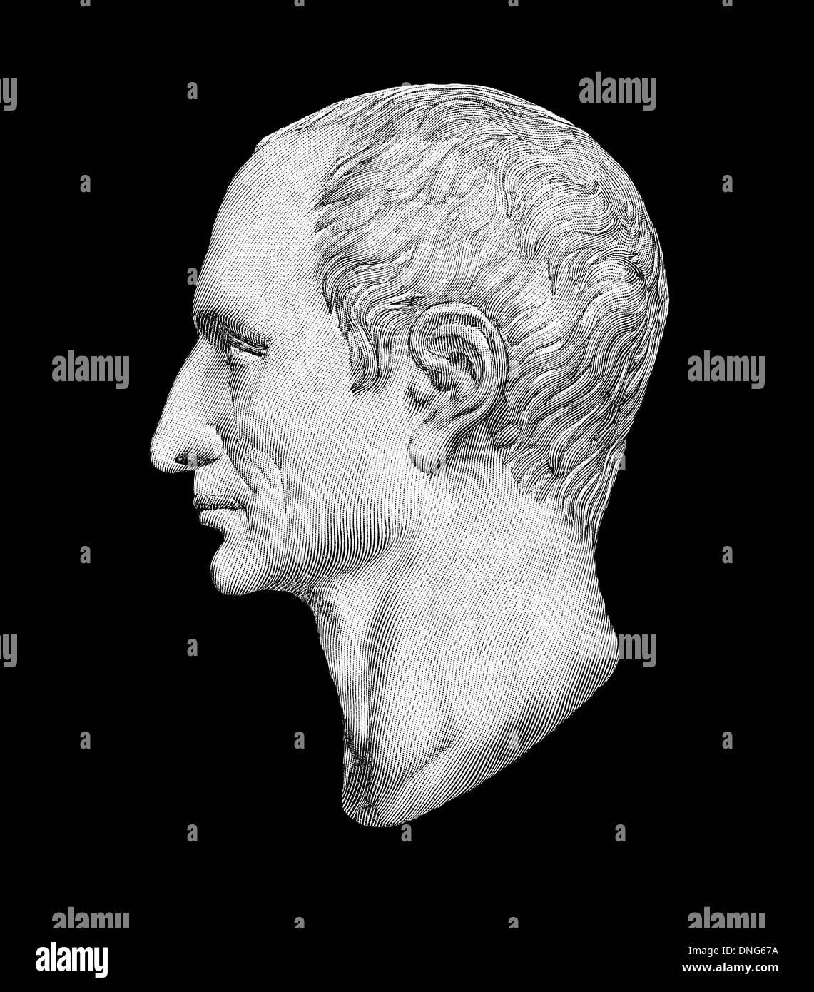 portrait of Gaius Julius Caesar, 100-44 BC, Roman statesman, military commander and author, - Stock Image