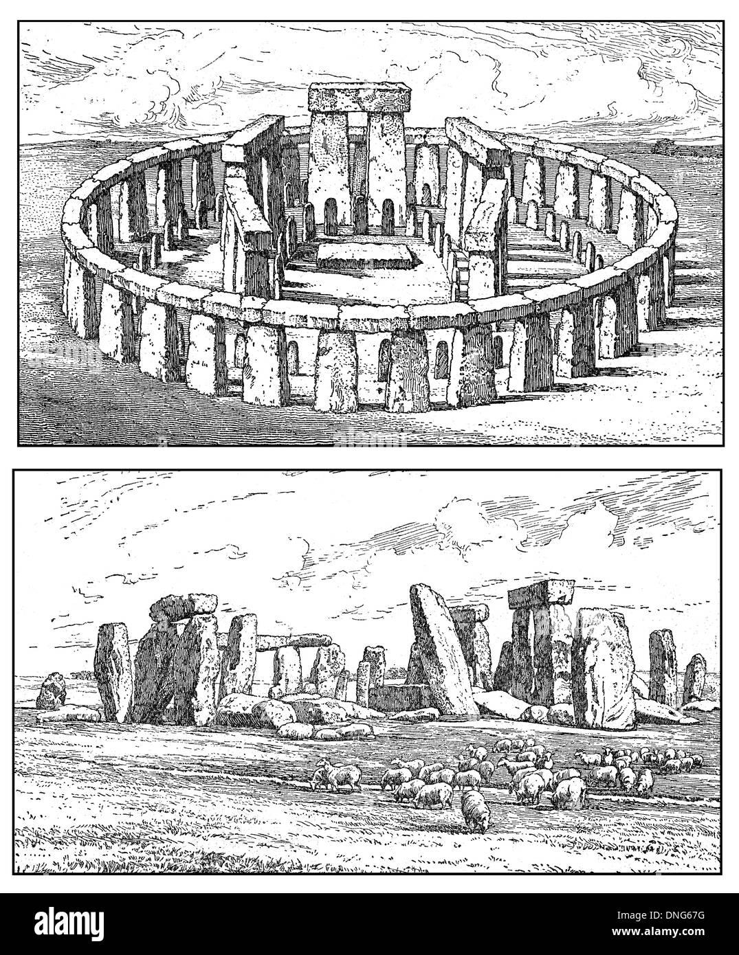 Stonehenge near Salisbury, Wiltshire, England, UK, Europe, 2000 BC and today, - Stock Image