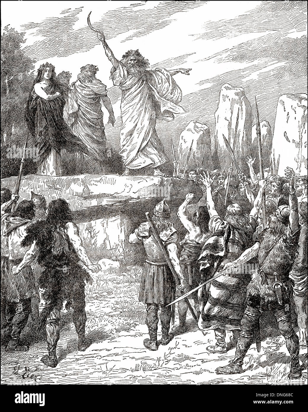 Druids inciting the Britons to oppose the landing of the Romans in England, - Stock Image