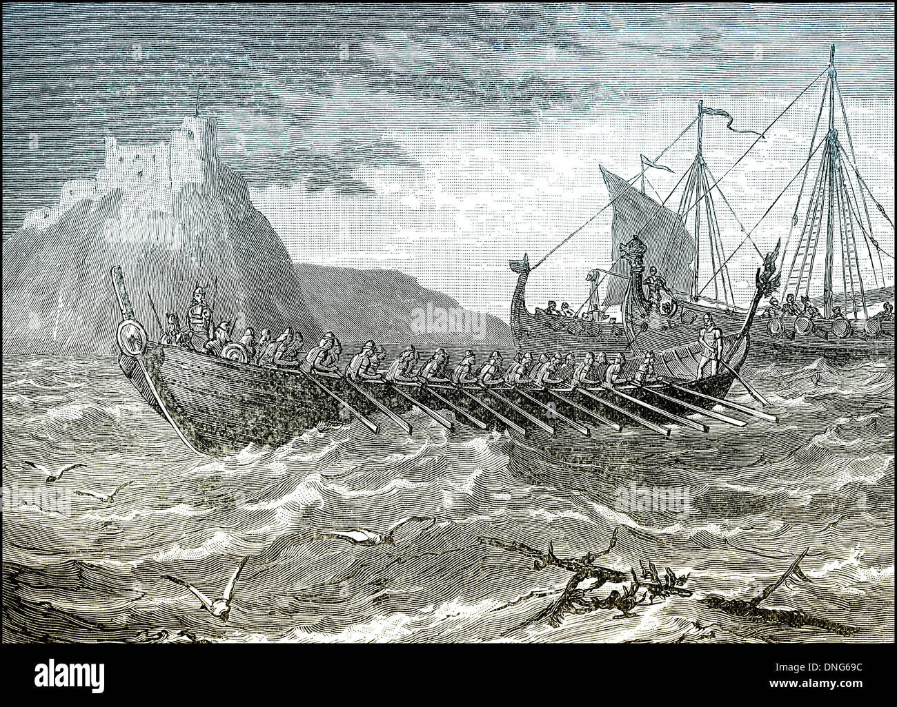 Landing Danes in England, 787, invasion with viking longships - Stock Image