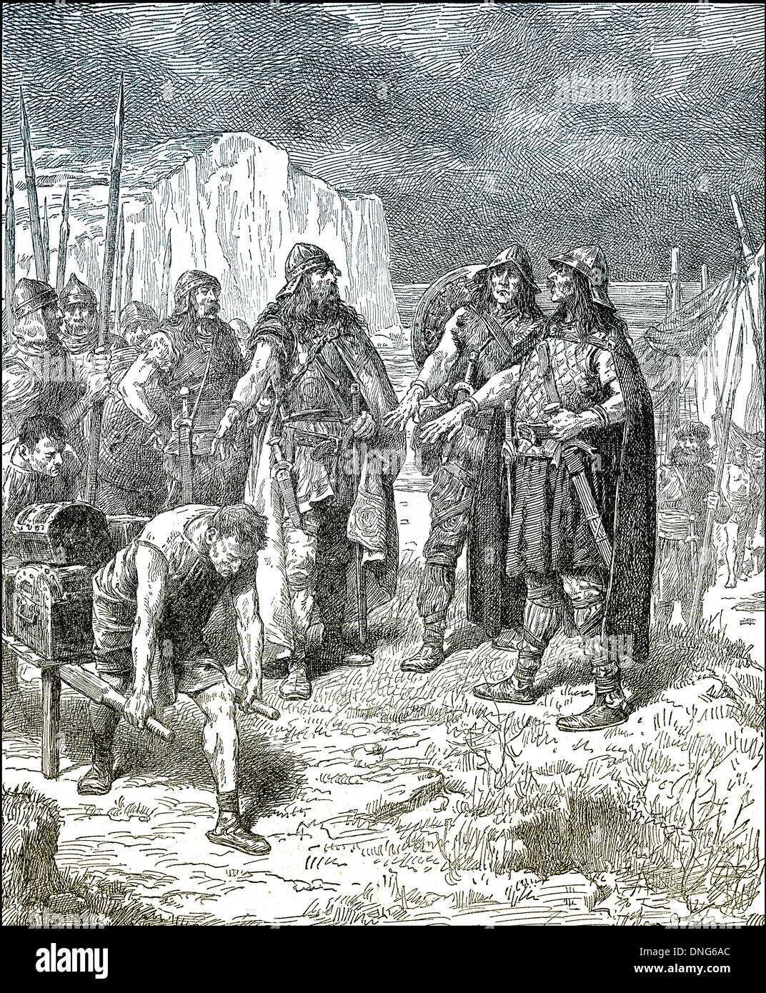 Treaty of Hengist or Hengest and Horsa or Hors with Vortigern, Vortiger or Vortigen, a 5th-century warlord in Britain, a leading - Stock Image