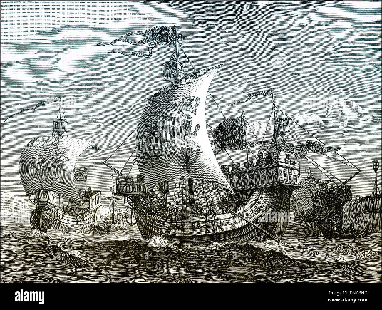 English ships, 14th century - Stock Image