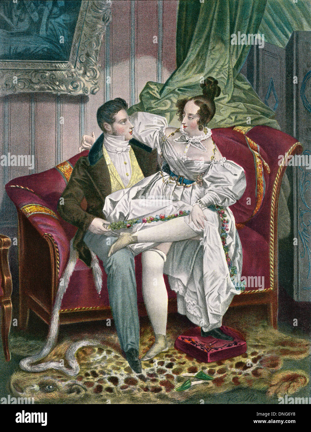 19th century lovers in a drawing room. - Stock Image