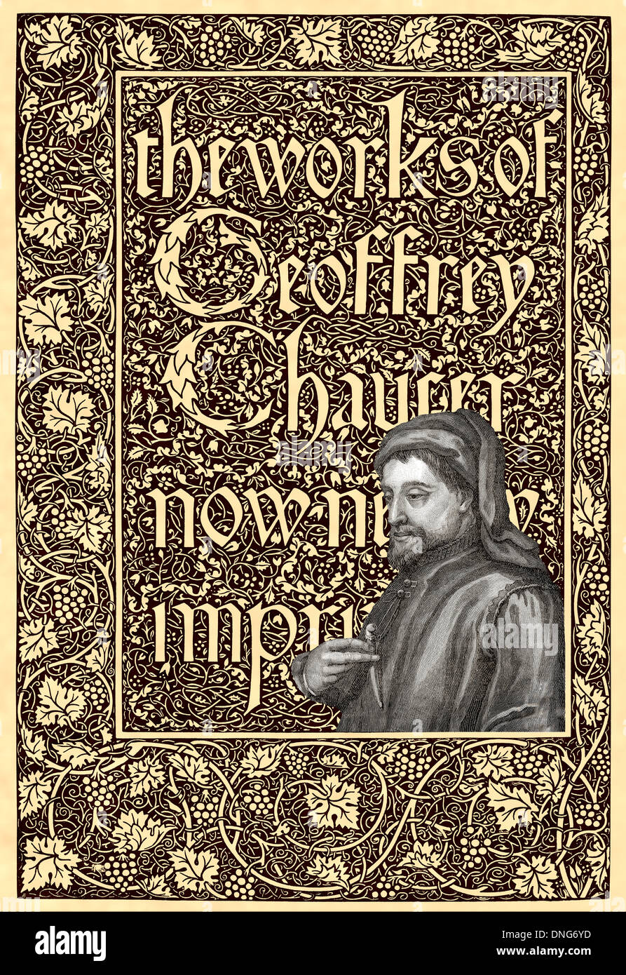 Portrait of Geoffrey Chaucer, ca. 1343 - 1400, part of the Canterbury Tales - Stock Image