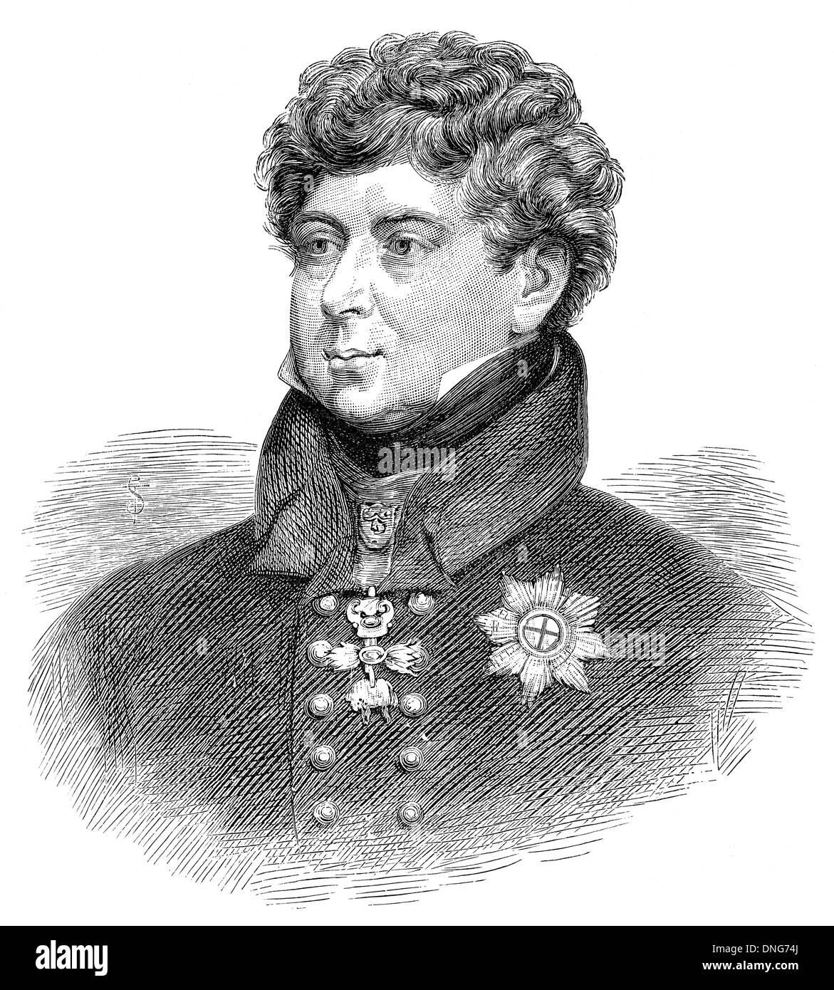 George IV or George Augustus Frederick, 1762 - 1830, king of the United Kingdom of Great Britain and Ireland and king of Hanover - Stock Image