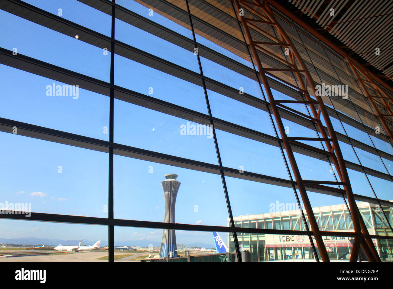 Beijing China Beijing Capital International Airport PEK gate area terminal 3 control tower interior inside design - Stock Image