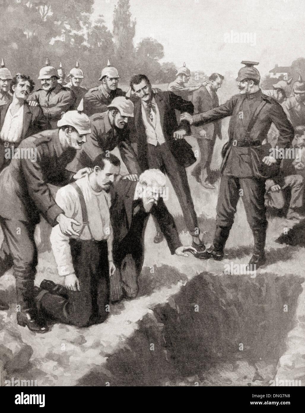 German atrocity in Senlis, France during WWI. - Stock Image