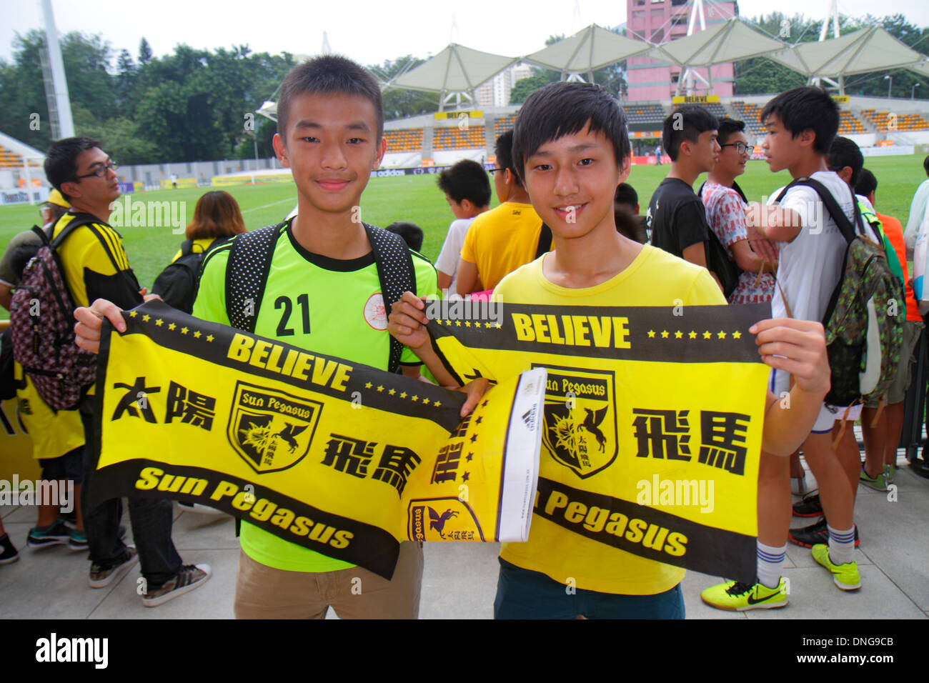 Hong Kong China Kowloon Prince Edward Mong Kok Stadium Sun Pegasus football club soccer fan banner Cantonese Chinese characters - Stock Image