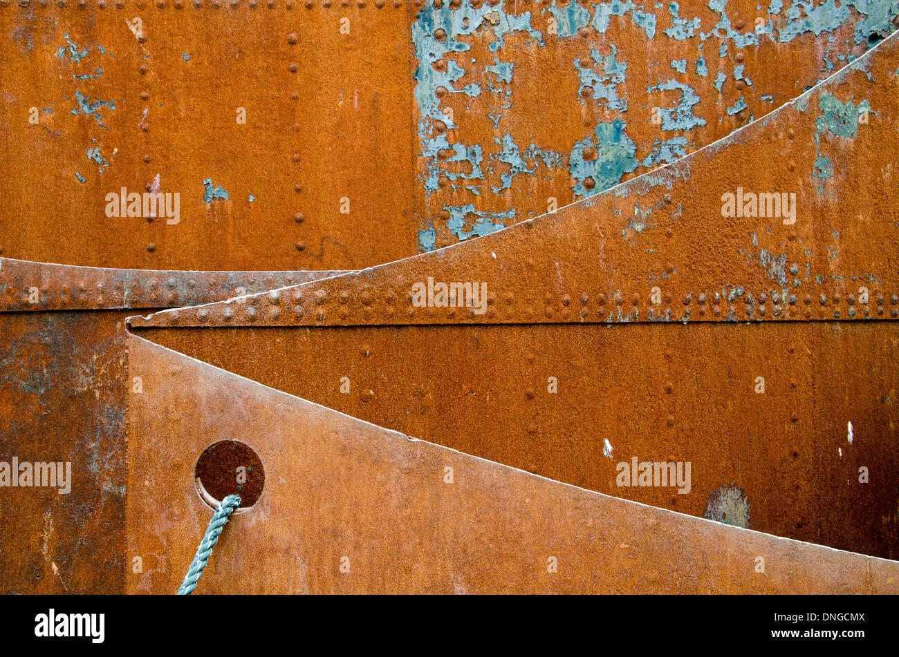 Rusty steel Platen. Rostige Stahlplaten. Stock Photo