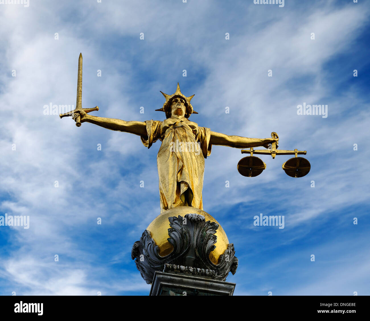 Old Bailey Statue of Lady Justice. Central Criminal Court, London, United Kingdom. - Stock Image