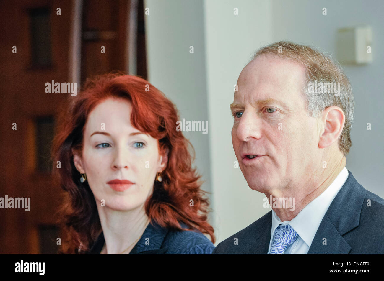 Belfast. Northern Ireland. 28th Dec 2013 - US Diplomat Richard Haass and Professor Meghan O'Sullivan return to Belfast for talks on past, flags and parades with the local political parties Credit:  Stephen Barnes/Alamy Live News - Stock Image