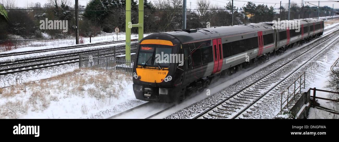 Winter Snow, 170105 County 2 County trains, Turbostar class, High Speed Diesel Train East Coast Main Line Railway Cambridgeshire - Stock Image