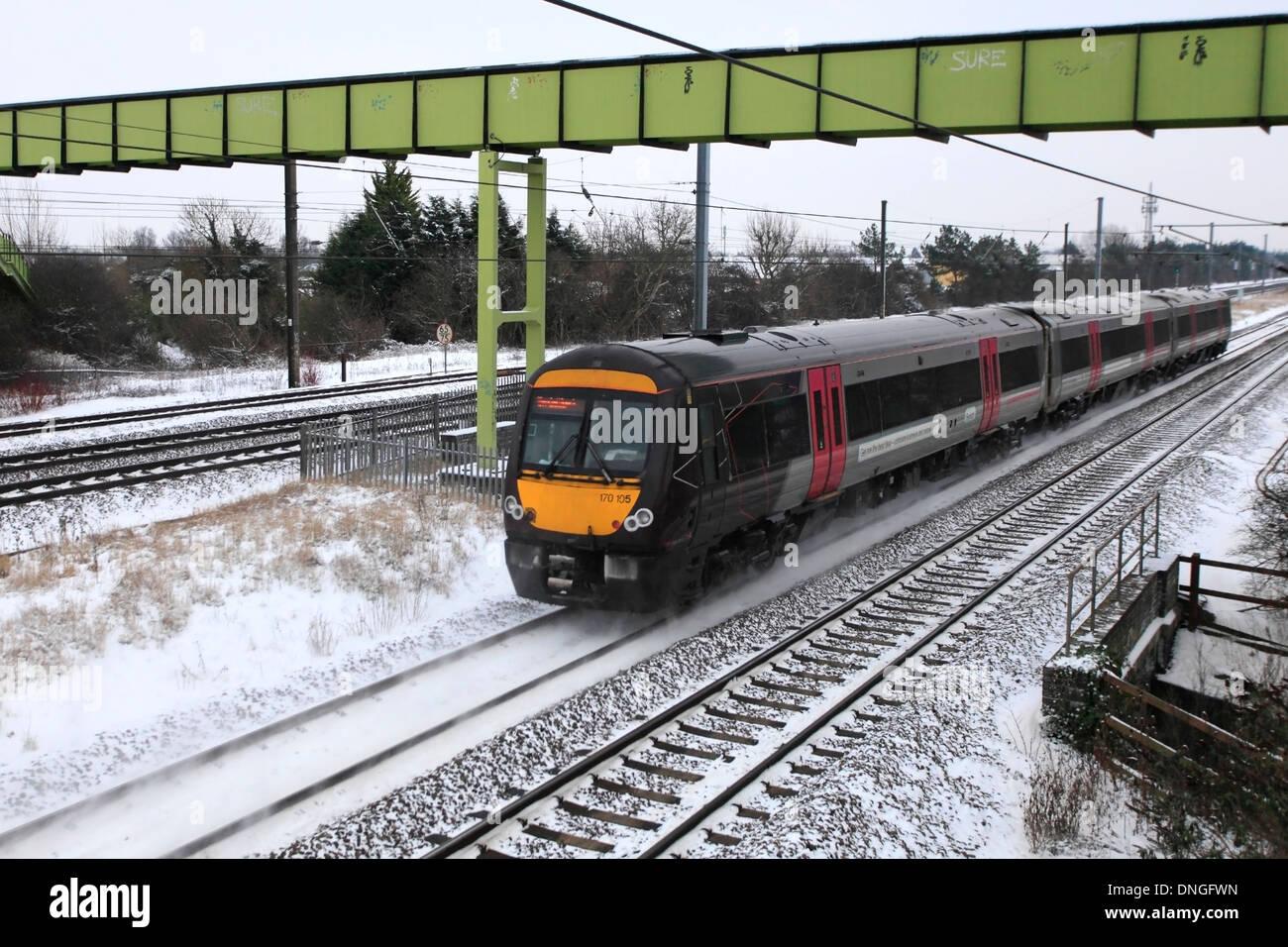 Winter Snow, 170505 County 2 County trains, Turbostar class, High Speed Diesel Train East Coast Main Line Railway Cambridgeshire - Stock Image
