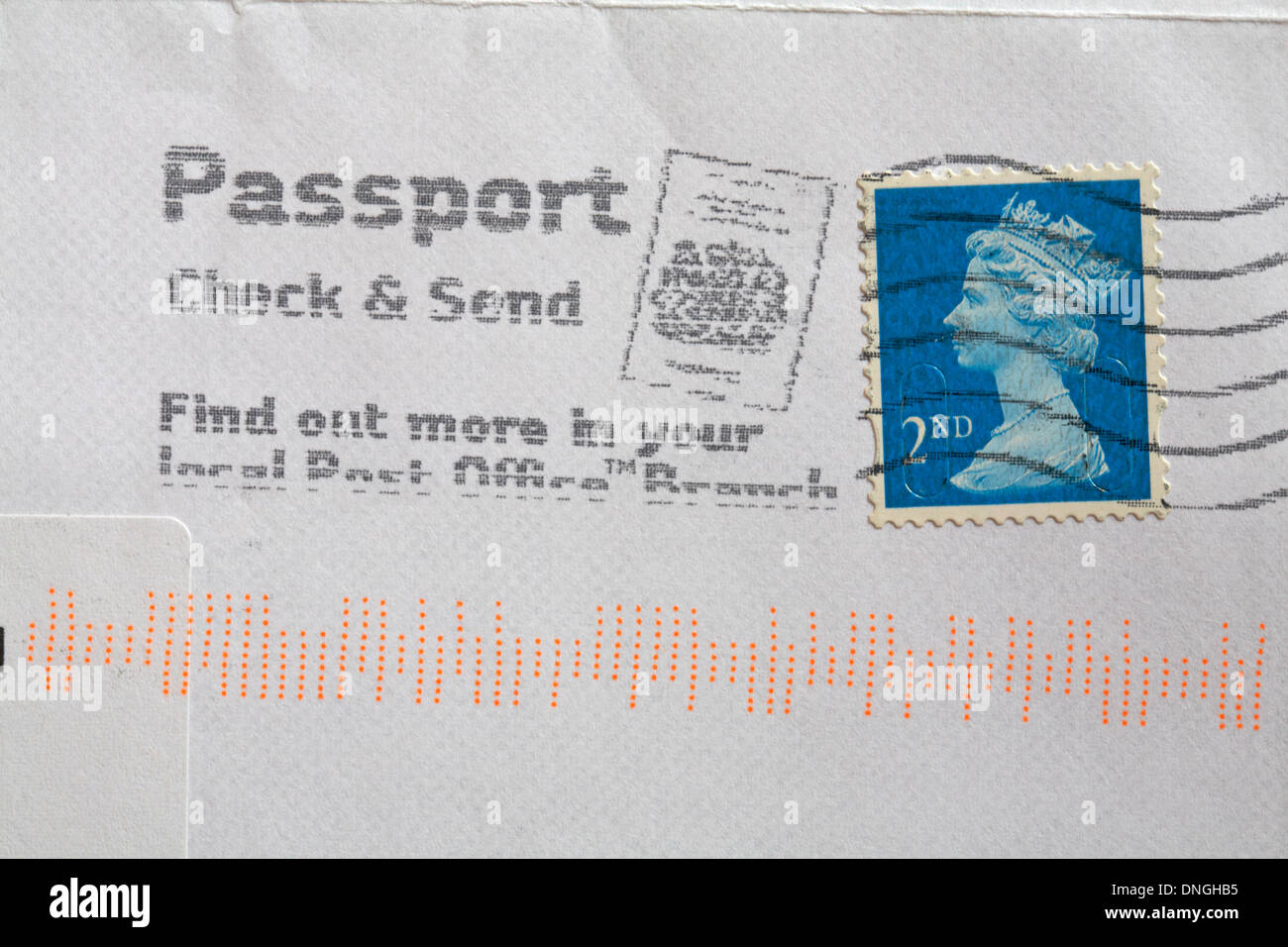 passport check & send find out more in your local Post Office branch stamp on envelope - Stock Image
