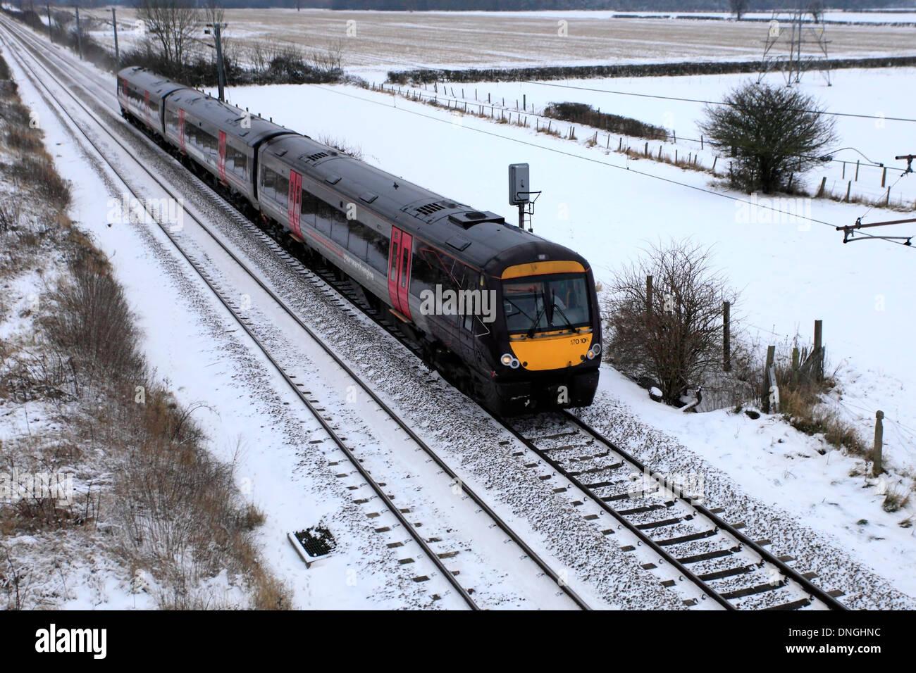 Winter Snow, 170106 County 2 County trains, Turbostar class, High Speed Diesel Train, East Coast Main Line Railway, - Stock Image