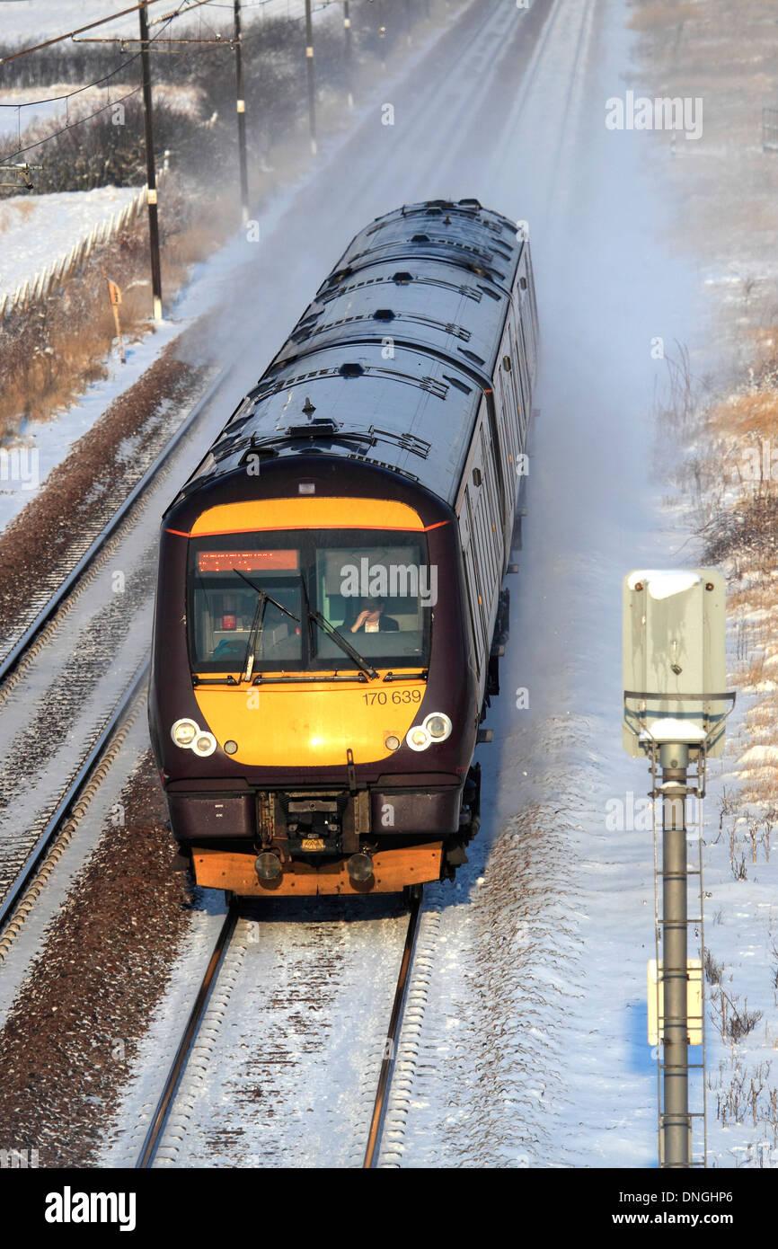 Winter Snow, 170639 County 2 County trains, Turbostar Train, High Speed Diesel Train East Coast Main Line Railway Cambridgeshire - Stock Image