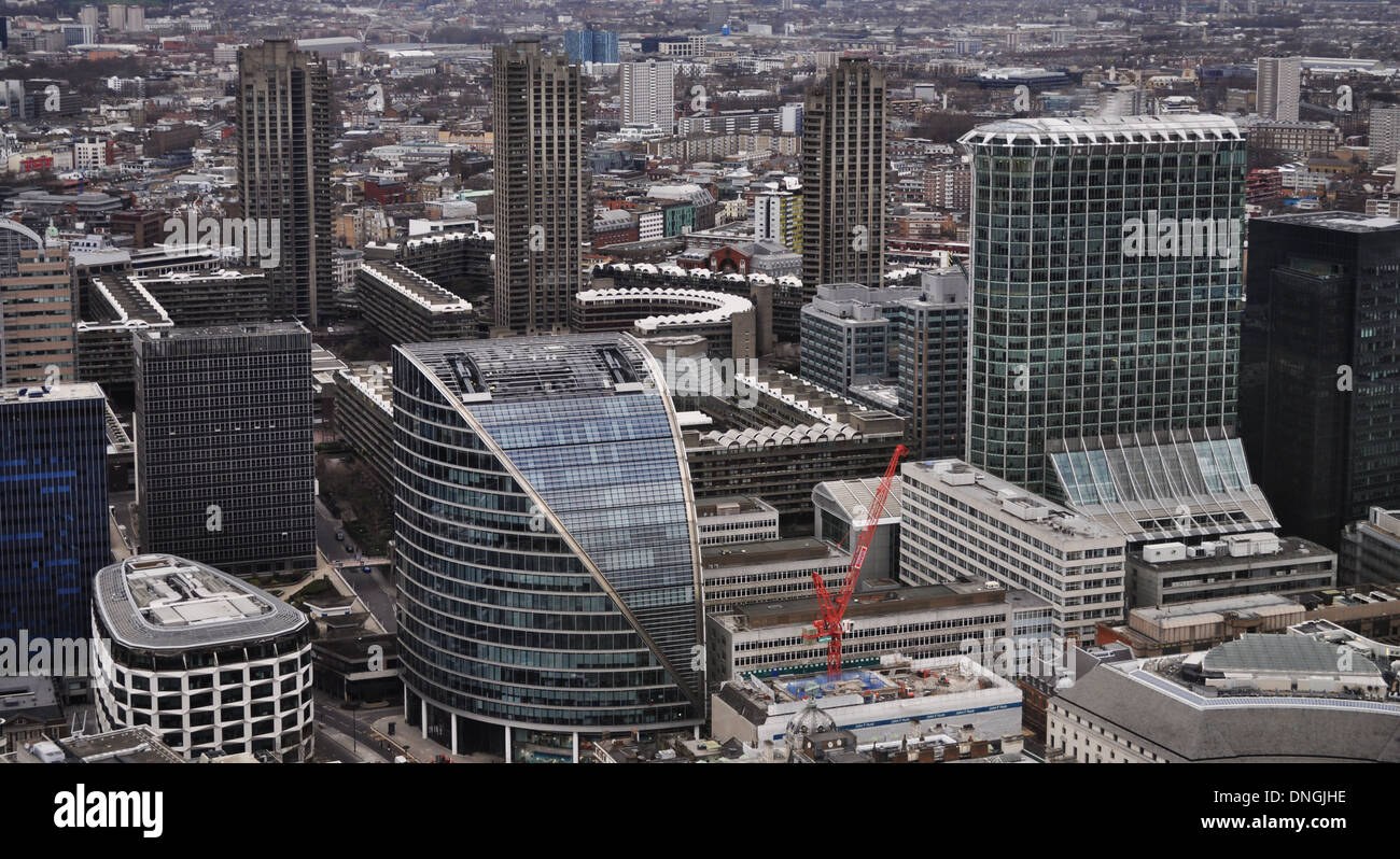 View West across the City of London to the Barbican - Stock Image