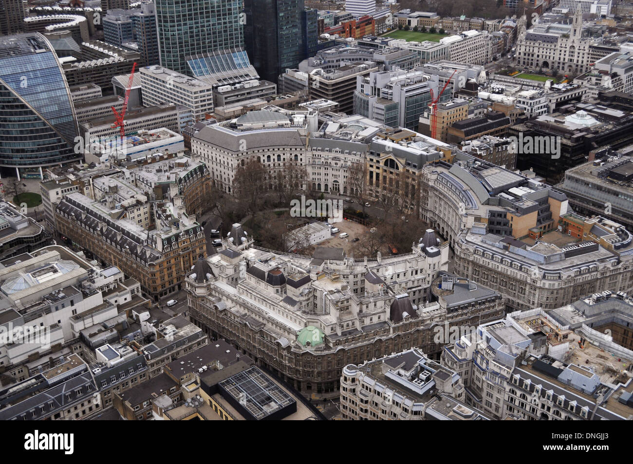 Aeriel view of Finsbury Circus in the City of London - Stock Image