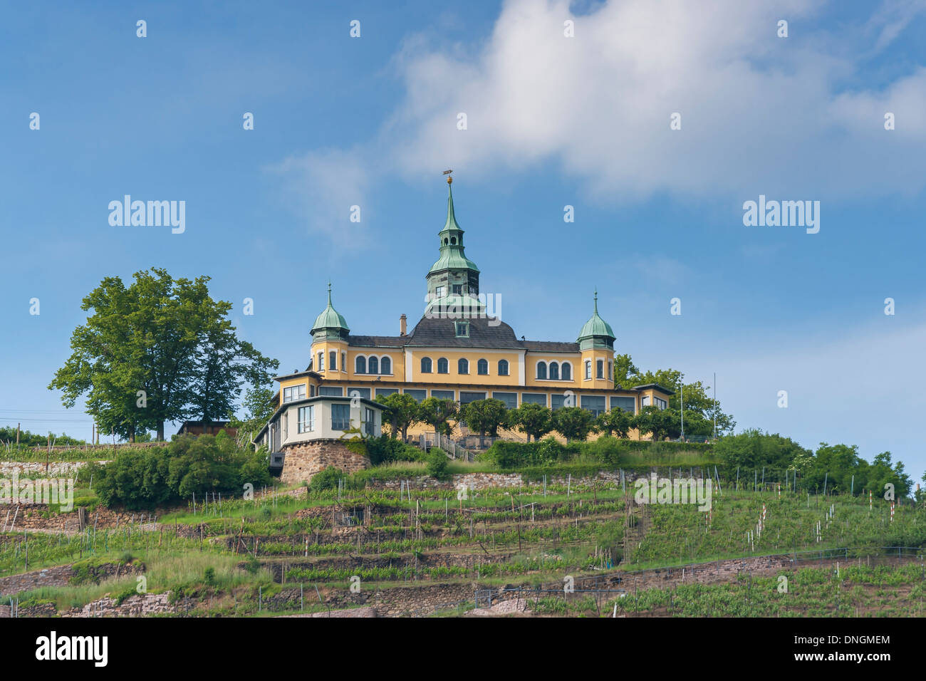 The Spitz House is a former summer house in the wine-growing area of Radebeul near Dresden,  Saxony, Germany, Europe - Stock Image