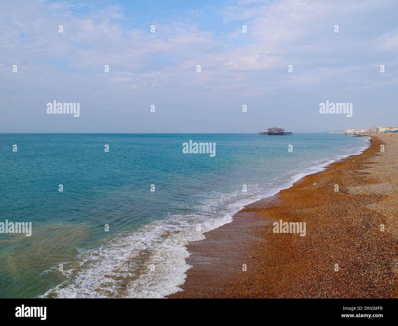 Brighton West Pier in the azure sea ocean English Channel Stock Photo