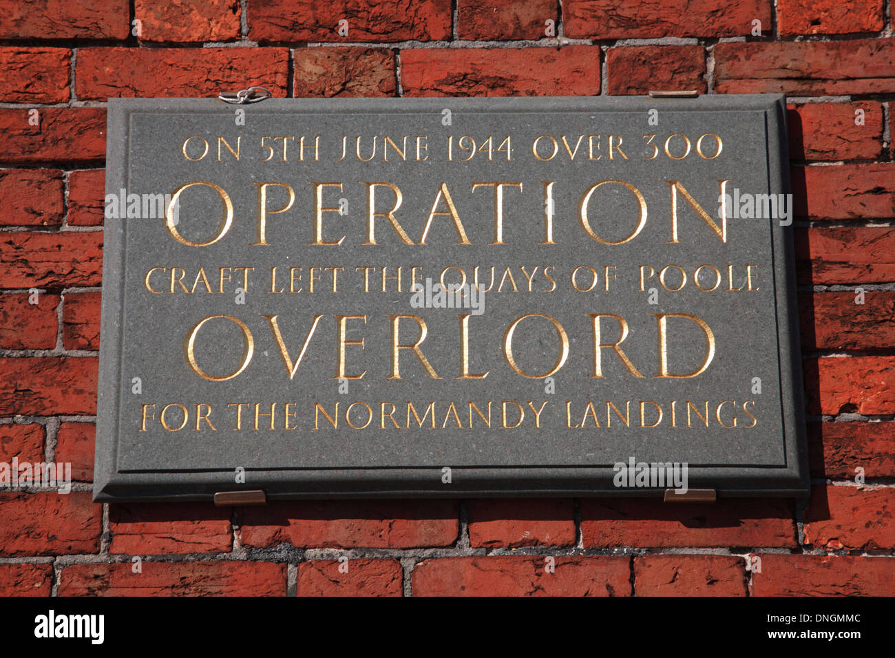 Plaque commemorating Operation Overlord, The Old Customs House, The Quay, Poole, Dorset, UK Stock Photo