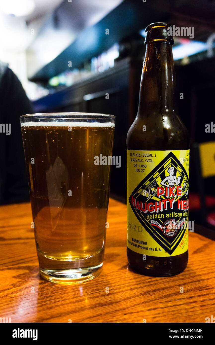 Pike Naughty Nelly, a golden artisan ale by the Pike Brewing Company. Seattle, WA, USA. - Stock Image