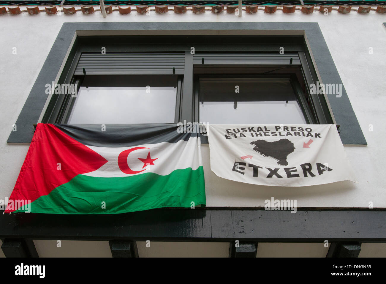 Getxo, Euskadi flag on house wall, Biscay province. Vizcaya, Basque Country. Spain. Cantabrian sea. - Stock Image