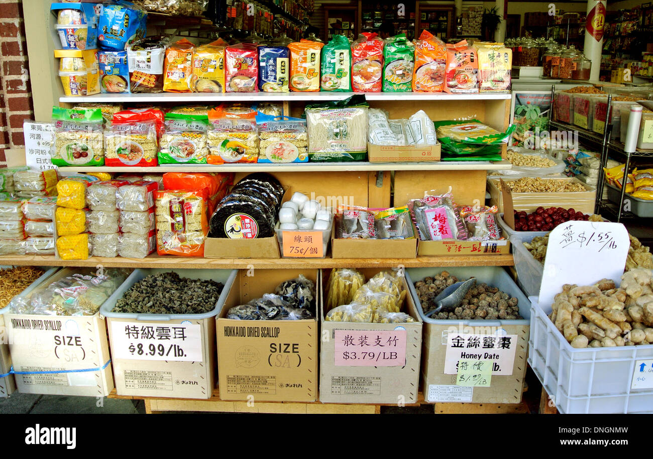Herbs And Dry Goods In Chinese Grocery Store Chinatown San Francisco