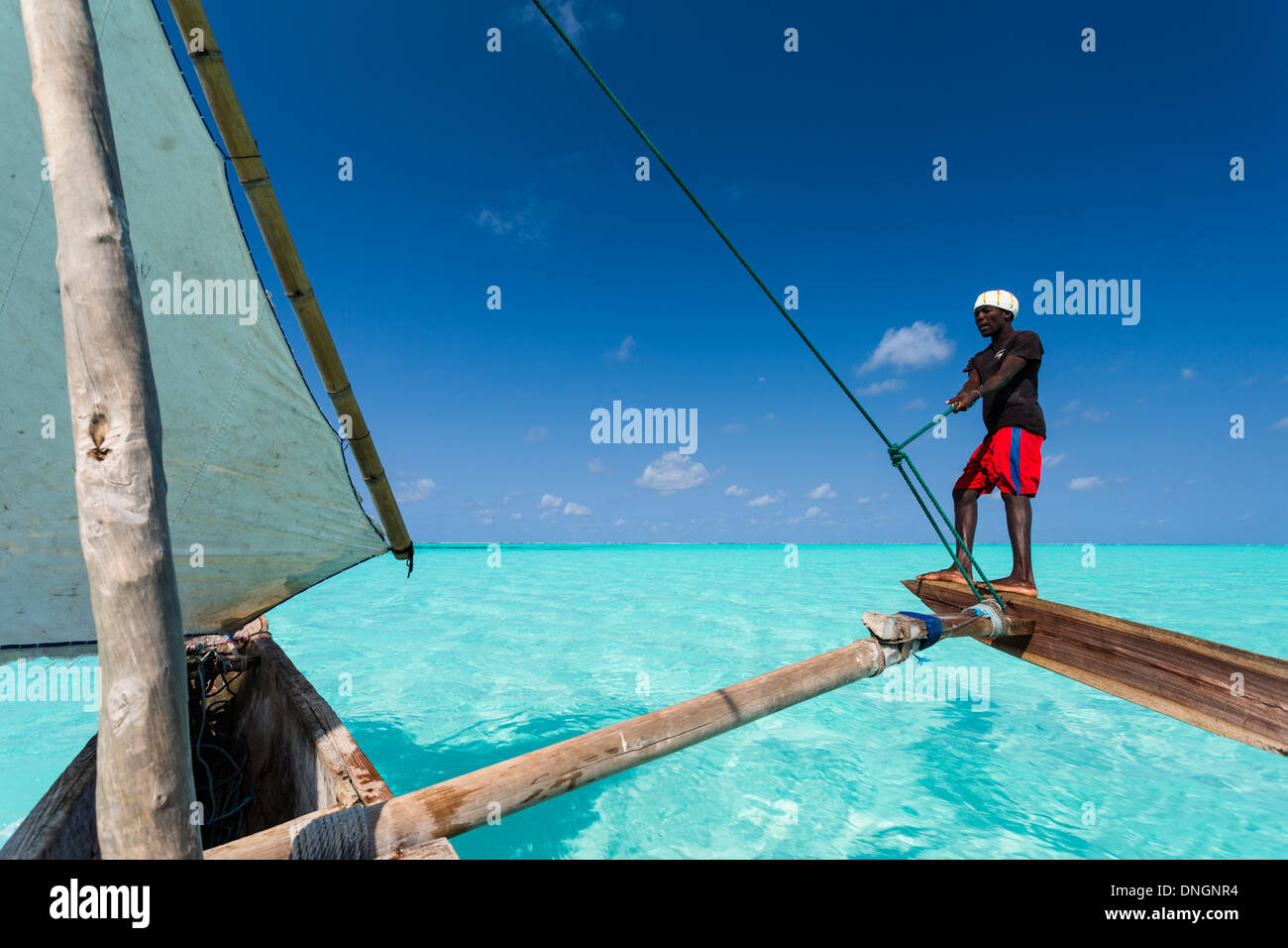 Sailing on a traditional dhow in Zanzibar, Tanzania - Stock Image