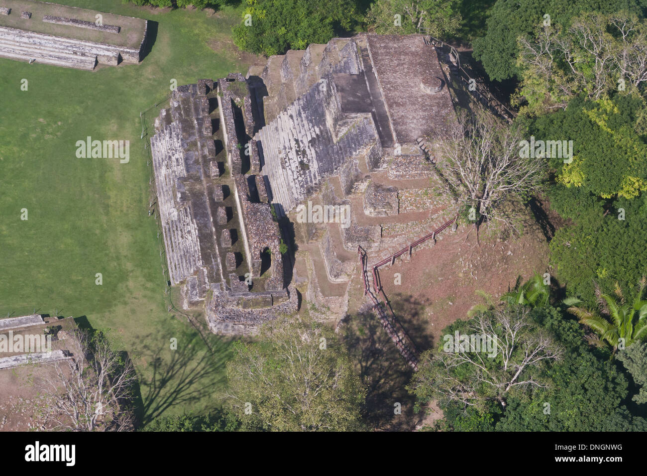 aerial view of Altun Ha, maya ruins in the tropical jungle of Belize - Stock Image