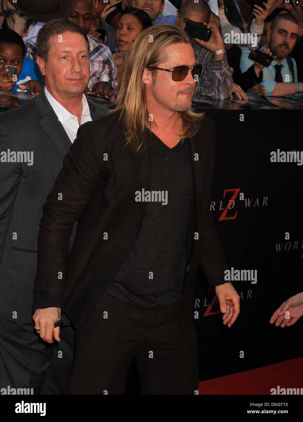 Actor Brad Pitt attends the 'World War Z' premiere in Times Square. Stock Photo